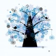 Royalty-Free Stock Vector Image: Winter tree, snowflakes. Christmas holid