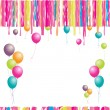 Vector de stock : Happy birthday! Balloons and confetti. I
