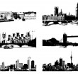 Cityscape silhouette black for your desi - Stok Vektör