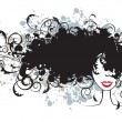 Royalty-Free Stock Vektorfiler: Floral hairstyle, woman face silhouette