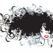 Royalty-Free Stock Vektorgrafik: Floral hairstyle, woman face silhouette