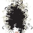 Stock Vector: Floral hairstyle, woman face silhouette