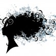 Floral hairstyle, woman face silhouette - Imagen vectorial