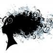 coiffure floral, silhouette visage femme — Vecteur