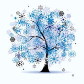 Winter tree, snowflakes. Christmas holid — Stock Vector