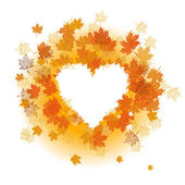 Autumn leaf: heart shape. Place for your — Stock Vector