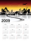 Arrière-plan de paysage urbain, calendrier — Vecteur
