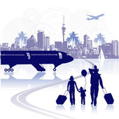 Happy family in airport, cityscape — Stock Vector