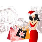 Christmas shopping, fashion woman for yo — Stock Vector