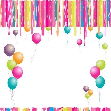 Happy birthday! Balloons and confetti. I