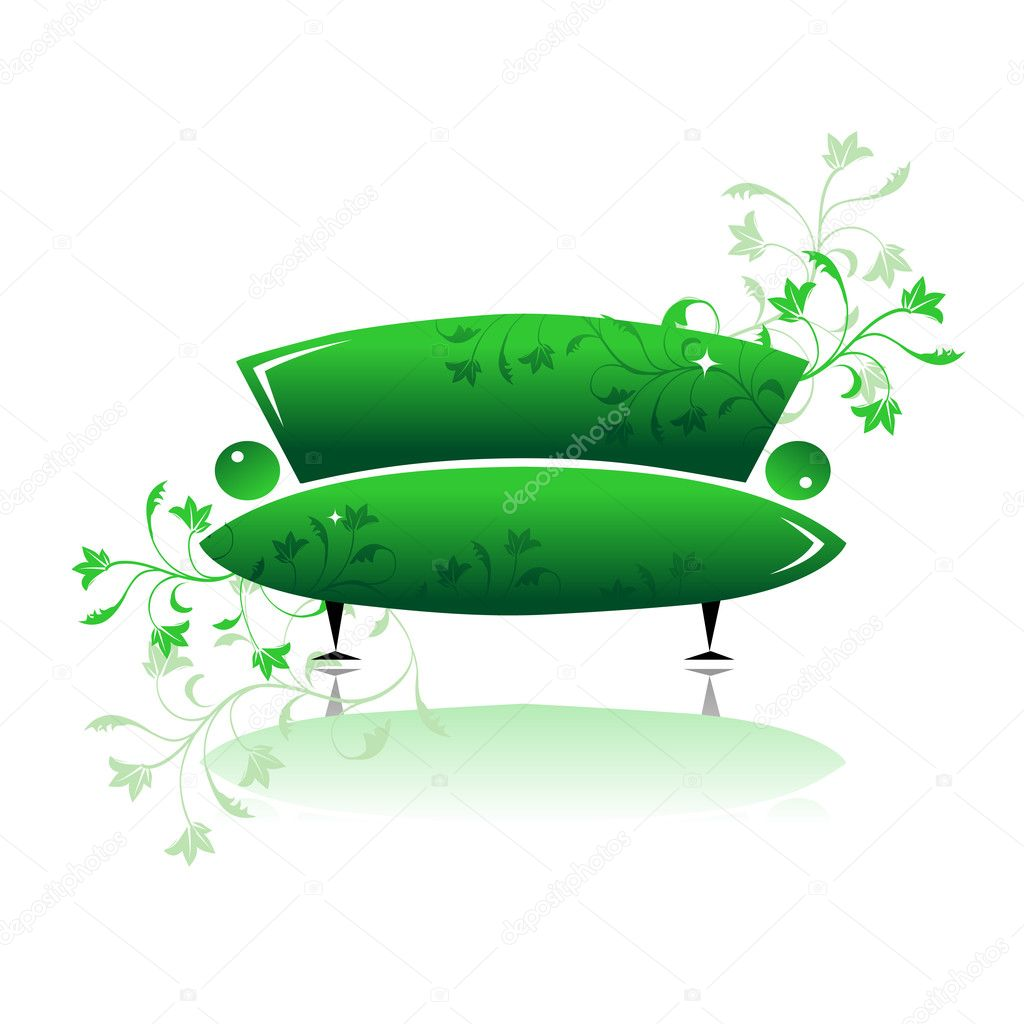 Green sofa design — Stock Vector #1087911