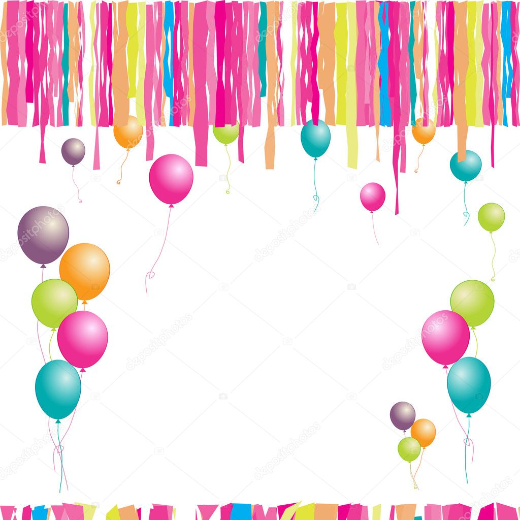 Happy birthday! Balloons and confetti. Insert your text here. — Stock Vector #1087917