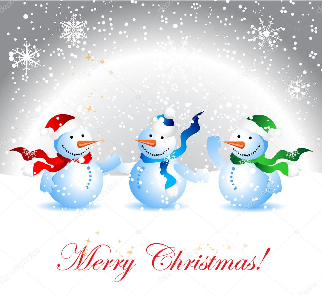 Christmas card, snowman — Stock Vector #1088680
