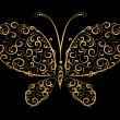 Royalty-Free Stock Vector Image: Butterfly silhouette golden