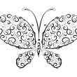 Butterfly silhouette ornament — Stock Vector