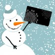 Happy snowman with credit card — Stock Vector