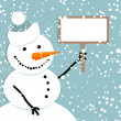 Happy snowman, christmas card — Stock Vector