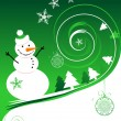 Stock Vector: Happy snowman, christmas card