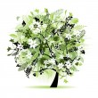Vector de stock : Floral tree beautiful
