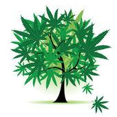 Art tree fantasy, cannabis leaf — Stock Vector