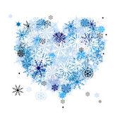 Me gusta el invierno! en forma de corazón de copos de nieve — Vector de stock
