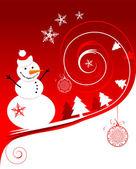Muñeco de nieve feliz, tarjeta de navidad — Vector de stock