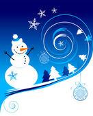 幸せな雪だるま、クリスマス カード — ストックベクタ