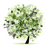 Floral tree beautiful — Vector de stock