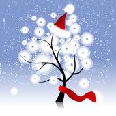 Christmas hat on winter tree — Stock Vector