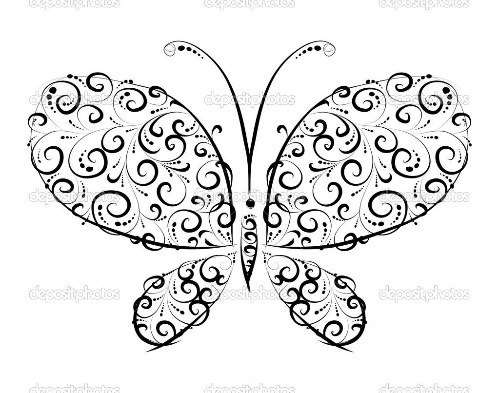 Butterfly silhouette ornament  for you design — Stock Vector #1356075