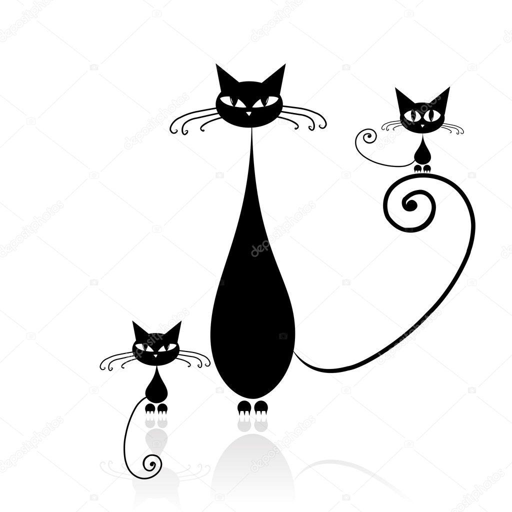 Concorso Design Your Cat : Czarny kot sylwetka do projektowania — grafika wektorowa
