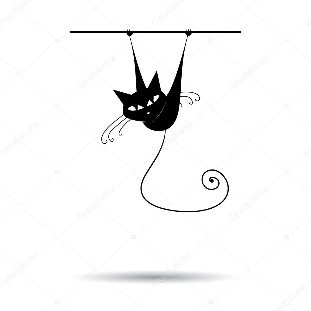 Black cat silhouette for your design — Stock Vector #1356145