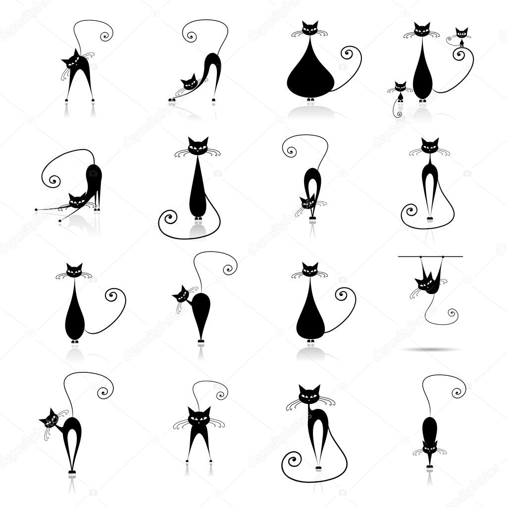 Black cat silhouette collections — Imagen vectorial #1356219