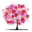 Stock Vector: Floral tree beautiful