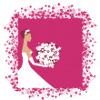 Stock Vector: Bride beautiful with bouquet