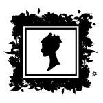 silhouette de portrait de femme, cadre floral — Vecteur