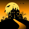 Royalty-Free Stock Vector Image: Halloween night holiday, house on hill