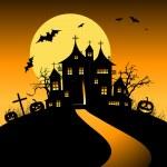Halloween night holiday, house on hill — Stock Vector