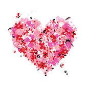 お花のハート形愛 — ストックベクタ