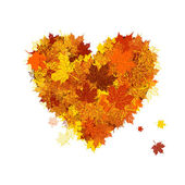 Autumn love, heart shape, leaf — Stock Vector