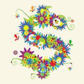 знак доллара. цветочный дизайн. — Cтоковый вектор