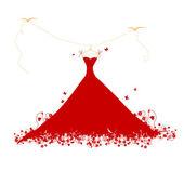 Dress red on hander, vector illustration — Stock Vector