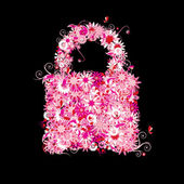 Closed lock, floral style. — Stock Vector