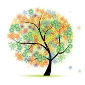 Floral tree beautiful — Stockvector