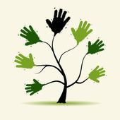 Hands tree illustration — Stock Vector