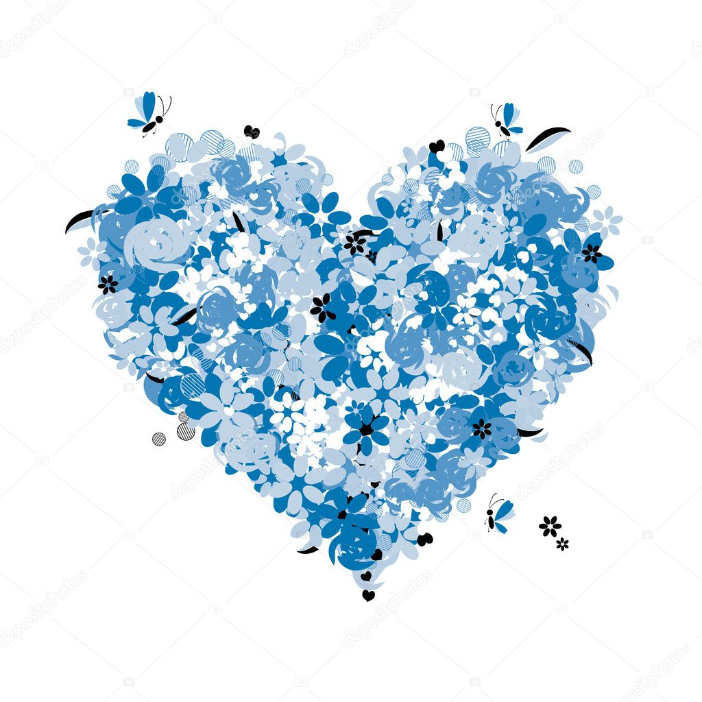 Floral heart shape, love — Stock Vector #1948443