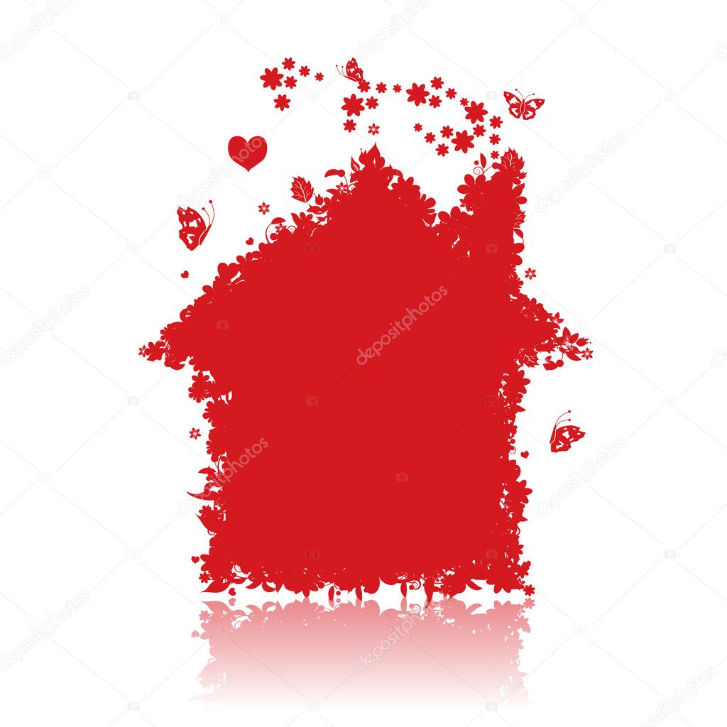 Red house. See also floral style images in my gallery — Stock Vector #1949263