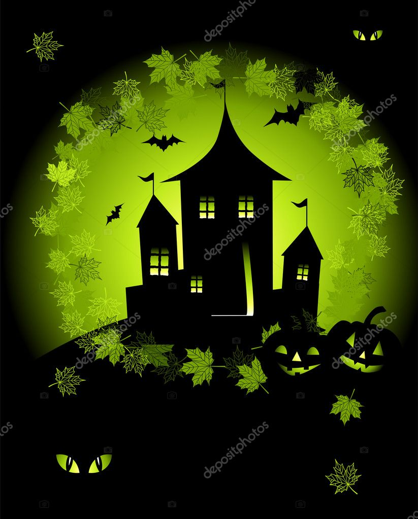 Halloween night holiday, house on hill  Stock Vector #1949407