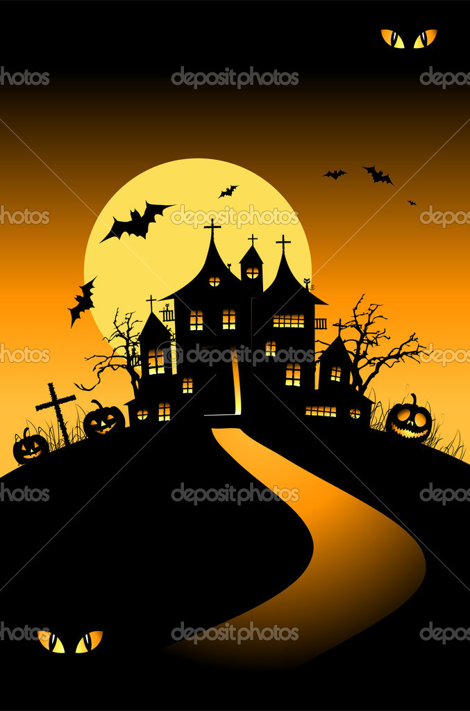 Halloween night holiday, house on hill — Stock Vector #1949471