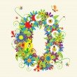 Numbers, floral design. — Stock Vector